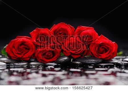 Set of Red rose and therapy stones