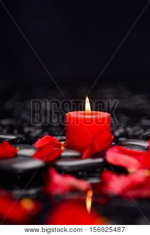 Many rose petals with red candle and therapy stones