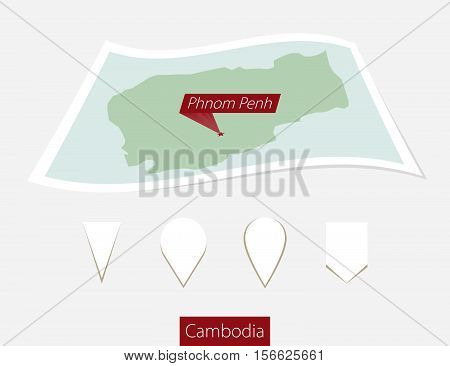 Curved Paper Map Of Cambodia With Capital Phnom Penh On Gray Background. Four Different Map Pin Set.