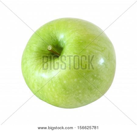whole green apple fruit isolated on white background with clipping path