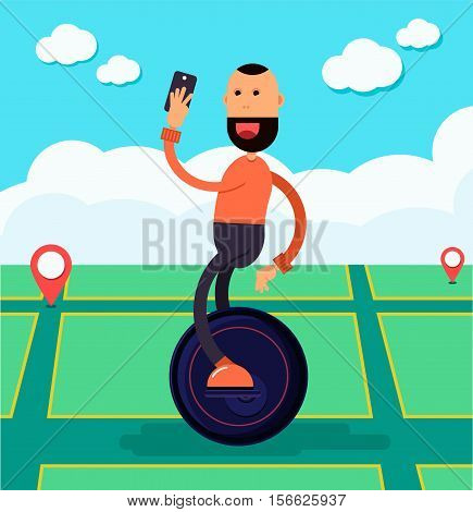 Cheerful guy with a beard holding smartphone rides on gyro wheel. Game search park modern gadgets. Beautiful cartoon flat design