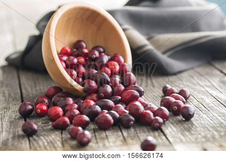 The tasty american cranberries in bowl on old wooden table.