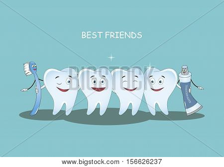 Best Friends teeth. Vector illustration. Illustration for children dentistry and orthodontics. Image toothbrush, tooth paste and tooth. Happy healthy teeth.