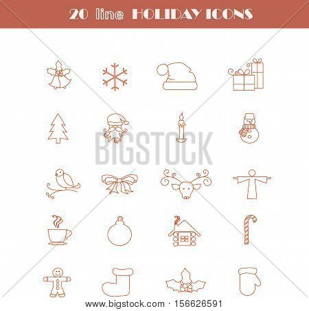 Set red line Christmas icons. Santa Claus, Christmas tree, mitten, boot, snowman, gift, deer, bells, shelter, calendar, ball, Christmas gingerbread, candle, gift box, angel, bullfinch, holly, vector illustration