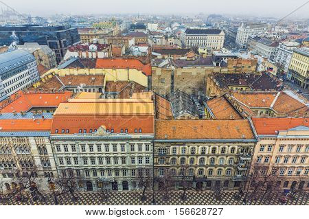 Aerial View, Budapest At Winter,Hungary