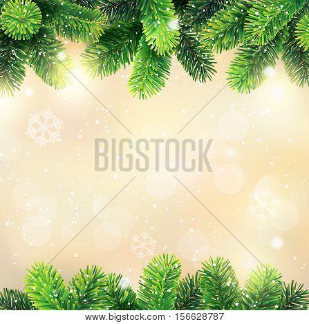 Christmas background with fir border. Vector illustration.