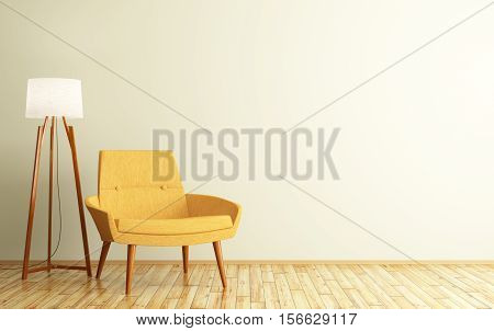 Interior Of Room With Armchair And Floor Lamp 3D Rendering