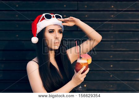 Girl looking for Someone at a Christmas Party