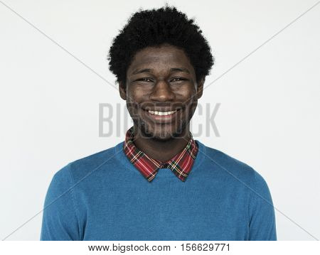 African American Adult Man Thoughtful Portrait Concept