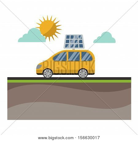 Vector sun solar energy icon electric car. Sun solar energy symbols electricity technology renewable ecology. Industrial electrical sun solar energy alternative panel modern innovation generator.