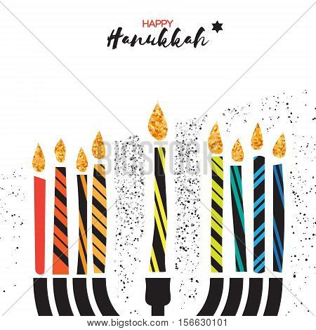Cute Happy Hanukkah Greeting card. Jewish holiday with menorah - traditional Candelabra, colorful candles on white background. Vector design illustration