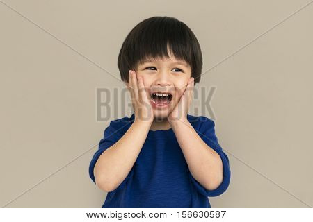 Little Boy Screaming Emotion Concept
