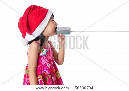 Asian Chinese Little Girl Wearing Santa Hat Holding Tin Can
