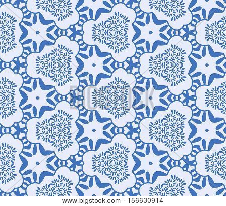 Seamless abstract vegetable wall-paper blue. A one-color pattern a print for fabric interior design a background. Basis for design.
