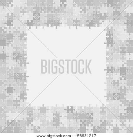 400 Grey Puzzles Pieces Arranged in a Square - JigSaw - Vector Illustration.