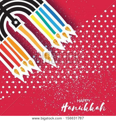 Colorful Happy Hanukkah Greeting card with papercraft elemetnt on red dot background. Jewish holiday with menorah - traditional Candelabra, candles. Vector design illustration
