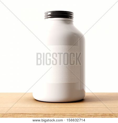 Closeup of one blank not transparent white glass jar on the wood desk and clear wall background.Empty glassy container , mockup label in center.Drinks, food storage concept.3d rendering