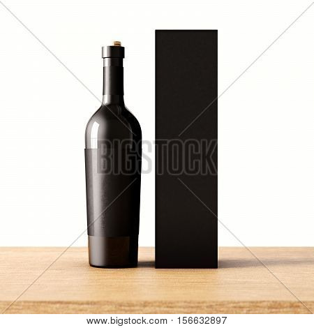Closeup one not transparent gray glass bottle of wine on the wooden desk, white wall background.Empty glassy container concept and mockup black paper bag for bottles.3d rendering. Front view