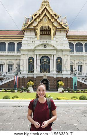 Woman Traveler Thailand Destination Culture Concept