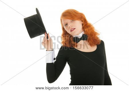 Woman as dandy taking black hat off isolated over white background
