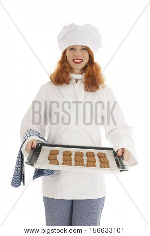 Female baker chef with red hair isolated over white background