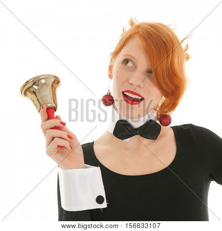 Young woman with bell from Santa Claus for Christmas
