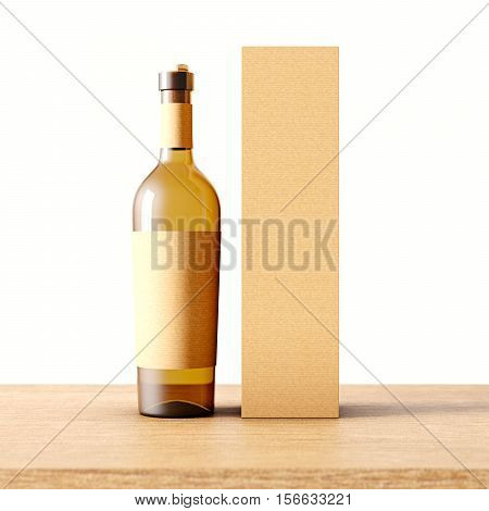 Closeup one transparent glass bottle of wine on the wooden desk, white wall background.Empty glassy container concept with craft mockup label and carton paper bag for bottles.3d rendering. Front view