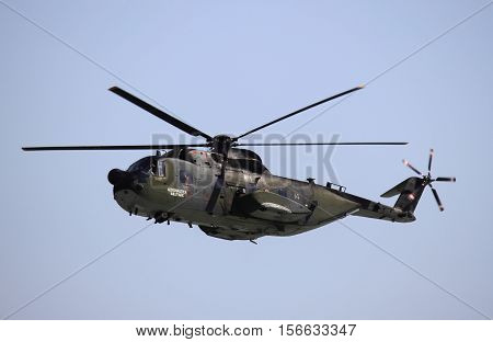 ROME - JUNE 29: An Agusta HH-3F helicopter performs at the Rome International Air Show on June 29 2014 in Rome Italy