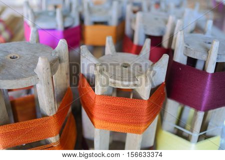 industrial textile factory or silk hand made , interior