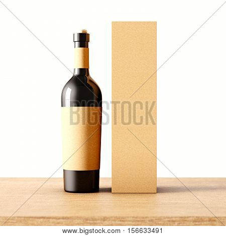 Closeup one not transparent gray glass bottle of wine on the wooden desk, white wall background.Empty glassy container concept with craft mockup label and carton paper bag.3d rendering.Front view