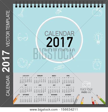 2017 Calendar planner, vector design template. Set of 12 months. Week starts Sunday