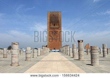 Landscape view of the Hassan Tower in Rabat, Morocco