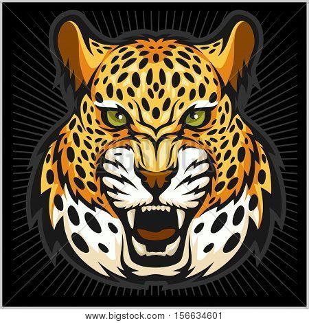 Vector jaguar portrait. Jaguar head isolated on black background.