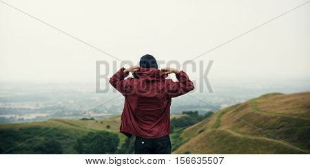 Man Rear View Top Mountain Carefree Cloudscape Concept
