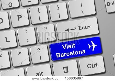 Visit Barcelona Blue Keyboard Button