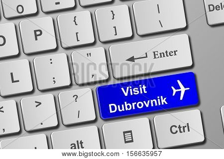 Visit Dubrovnik Blue Keyboard Button