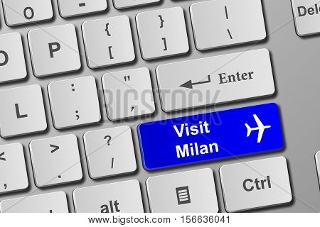 Visit Milan Blue Keyboard Button