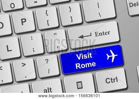 Visit Rome Blue Keyboard Button