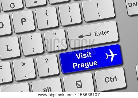 Visit Prague Blue Keyboard Button