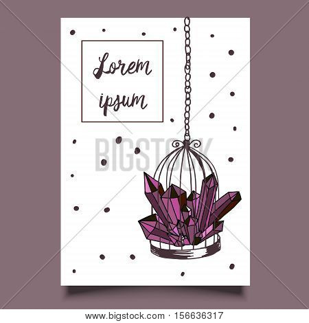 Template card hand drawn illustration cage and purple minerals