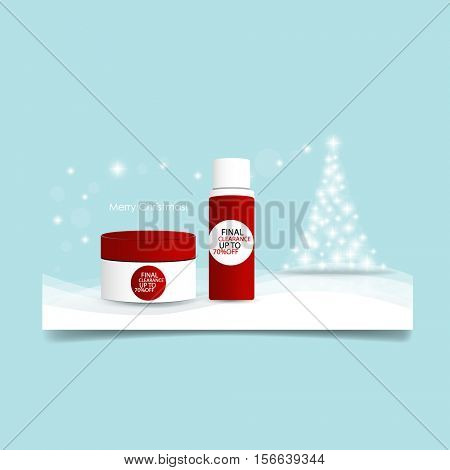 Christmas background with Christmas tree and Cosmetics packaging, vector illustration