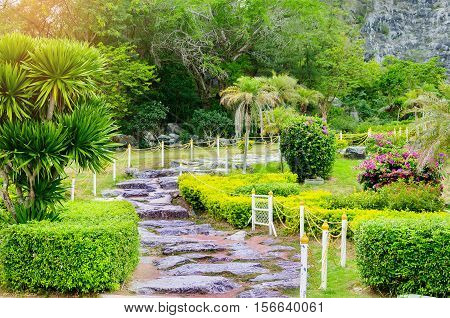 walkway path in the green lawn garden landscape of fresh nature.