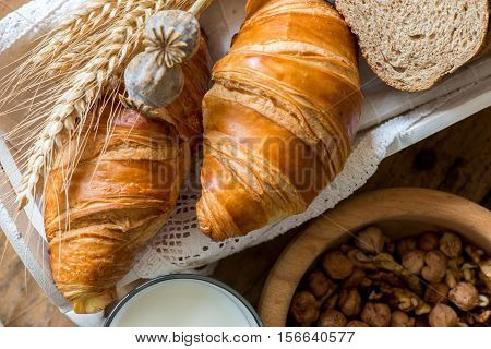 Breakfast With Freshly Baked Croissants