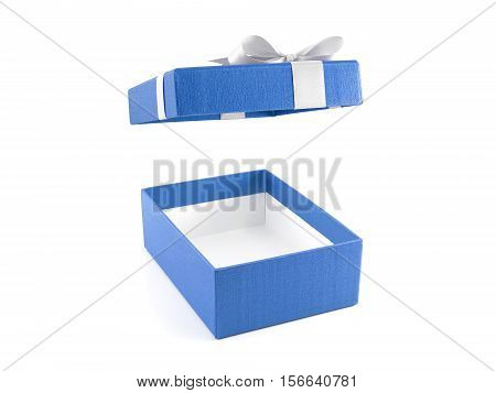 open and empty blue gift box with white ribbon bow isolated on white background