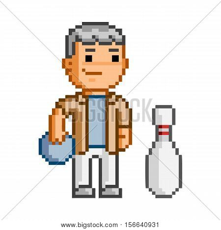 Vector pixel art man and bowling on white background.