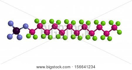 Sodium dodecyl sulfate (SDS sodium lauryl sulfate) - important anionic surfactant 3D rendering