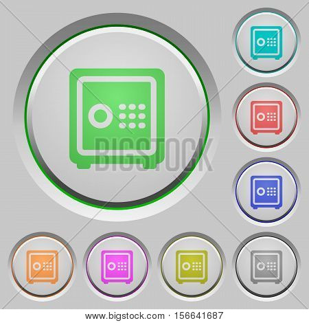 Strong box color icons on sunk push buttons