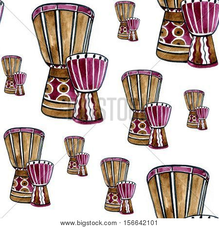 Seamless pattern with african drum tam tam and splashes in watercolor style. Colorful hand drawn illustration
