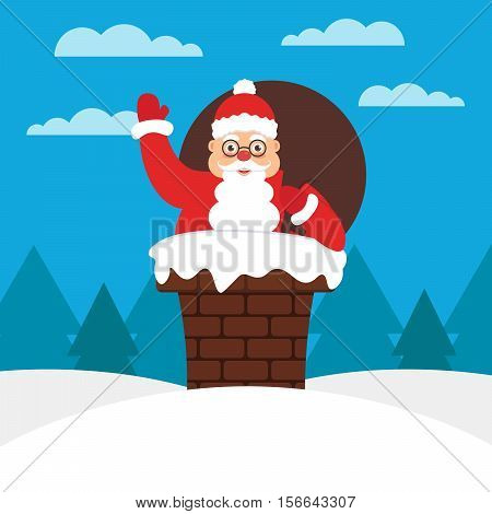 Santa with gift bag in chimney on the roof. Modern flat illustration.