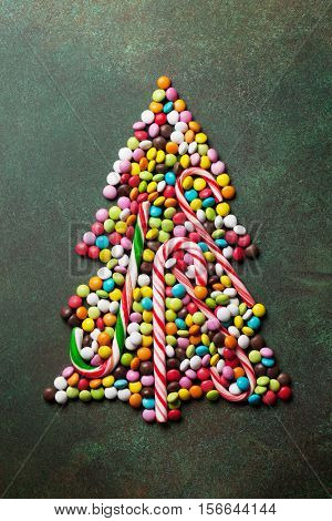 Candy christmas tree shape. Top view